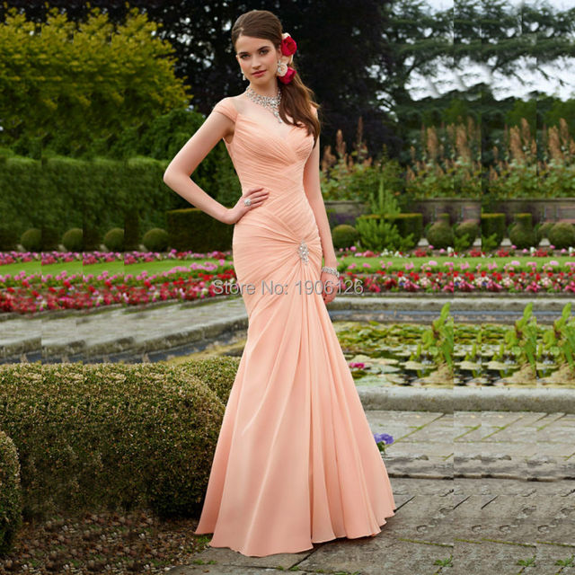 Modest Long Mermaid Coral Colored Bridesmaid Dresses Pleated Wedding ...