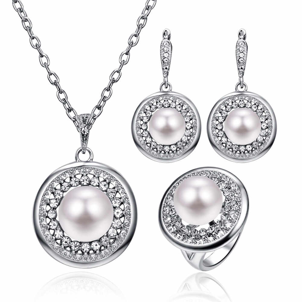 Wedding Party Jewelry Sets For Women Shiny Silver Color Pave Crystal Big Round Pearl Pendant Necklace Earrings Ring Set