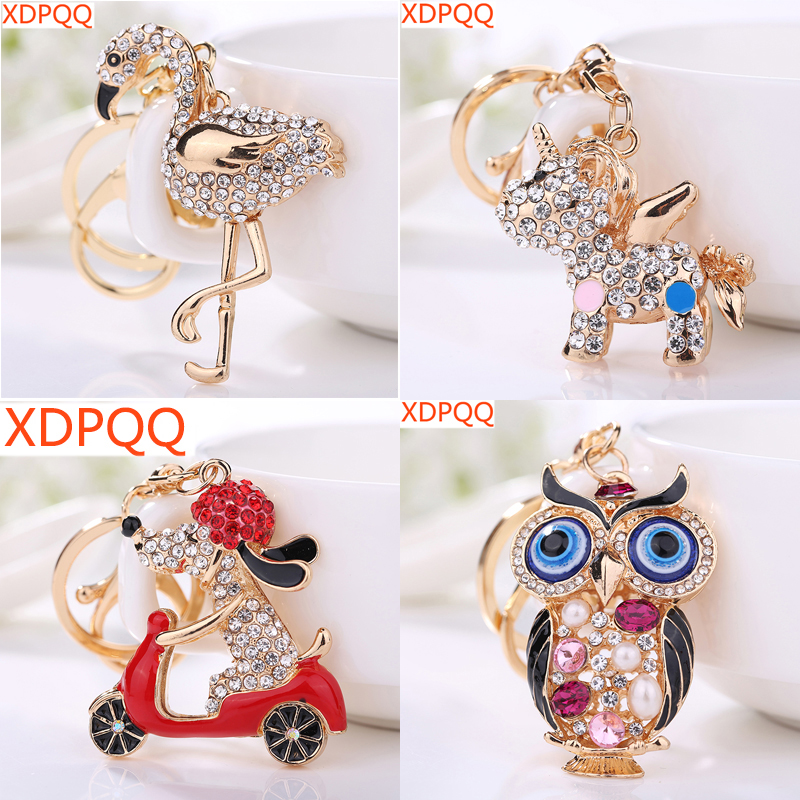 2018 New Jewelry Keychain Animal Series Puppy Swan Unicorn Owl Lady Keychain Gift Bag Pendant Car Keyring