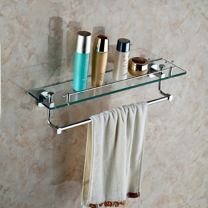 parete singola mensola di vetro con portasciugamani mensole bagno con vetro temperato chrome bagno rifinito accessori