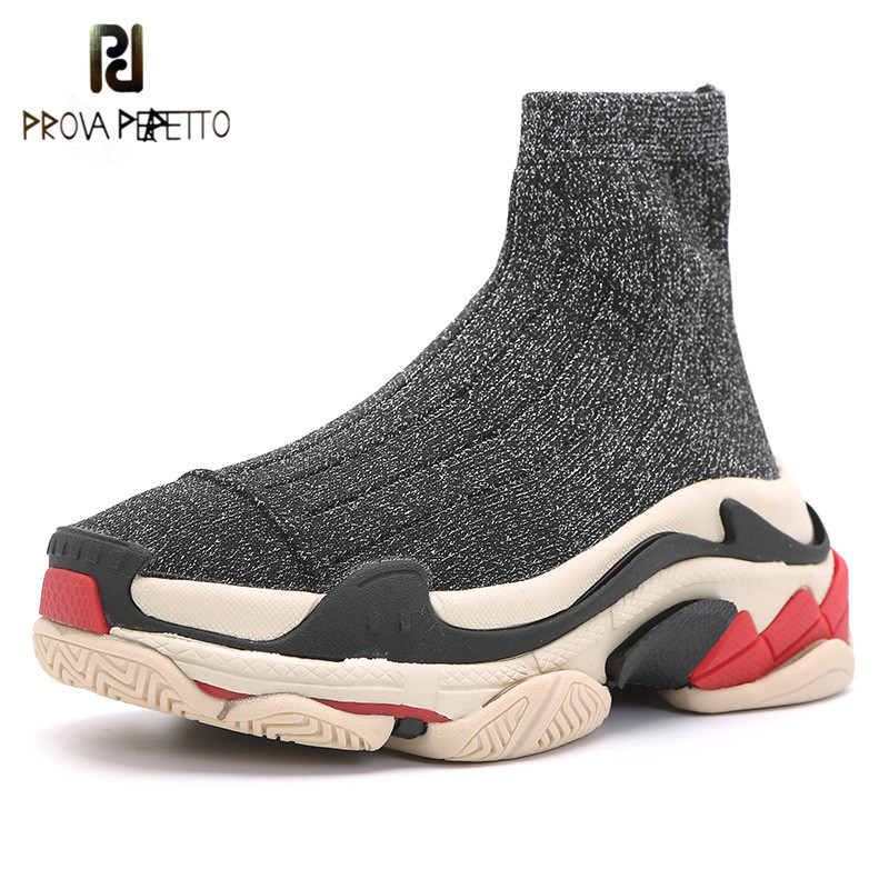 Prova Perfetto 2018 Platform Flats Sneakers Women Breathable Shoes Woman High Top Stretch Sock Shoes Student