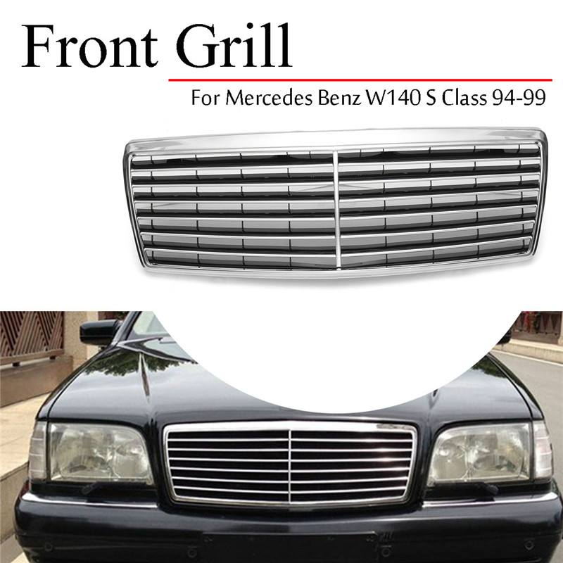 Chrome Front Hood Bumper Grill Grille for Mercedes for Benz W140 S Class 1994-1999 Bumpers Auto Replacement PartsChrome Front Hood Bumper Grill Grille for Mercedes for Benz W140 S Class 1994-1999 Bumpers Auto Replacement Parts