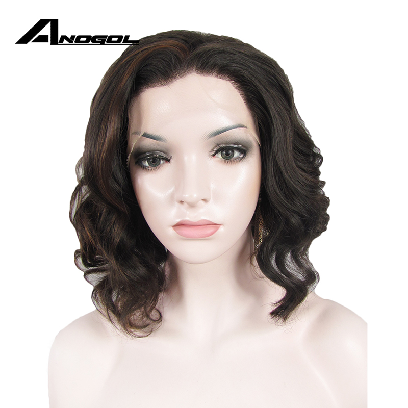 Anogol High Temperature Fiber Perruque Peruca 1# Black #2 Drak Brown Blonde Short Water Wave Bob Wigs Synthetic Lace Front Wig