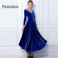Pantalon Winter Dress Women 2018 Casual Vintage Velvet Dress Long Sleeve Plus Size 3XL Elegant Sexy Long Party Dress ukraine