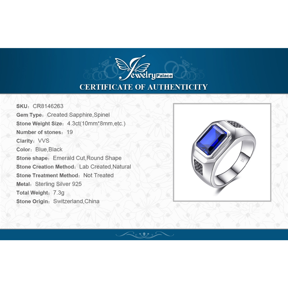 Купить с кэшбэком JewPalace 4.3ct Black Spinel Created Sapphire Ring 925 Sterling Silver Rings for Men Wedding Rings Silver 925 Gemstones Jewelry