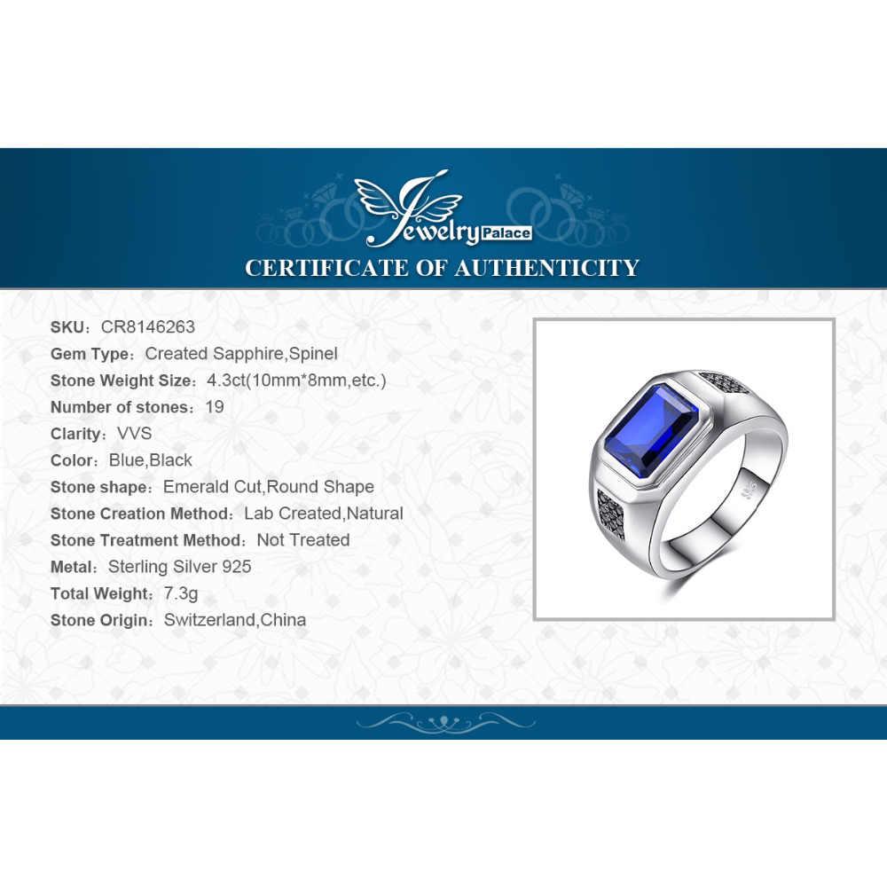 Jewpalace 4.3ct spinel preto criado safira anel 925 anéis de prata esterlina para os homens anéis de casamento prata 925 pedras preciosas jóias