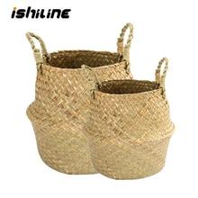 Storage-Basket Flower-Pot Straw-Wicker Rattan Belly Seagrass Folding Handmade Bamboo