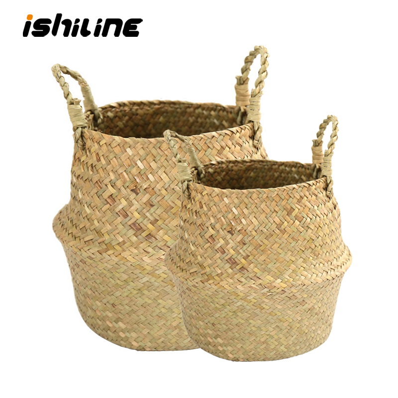Handmade Bamboo Storage Basket Folding Clthoes Laundry Basket Straw Wicker Rattan Seagrass Belly Garden Flower Pot Plant Basket(China)