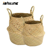 Handmade Bamboo Storage Basket Folding Clthoes Laundry Basket Straw Wicker Rattan Seagrass Belly Garden Flower Pot Plant Basket(China)
