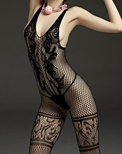 2019 Women Fashion Hot New Sexy Much-loved Floral Motif Mesh Body Stockings One Size (Black)