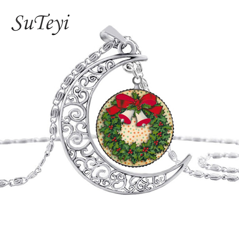 SUTEYI Silver Moon Necklace Necklaces Glass Cabochon Santa Claus Picture Chain Statement Necklaces Jewelry Wholesale
