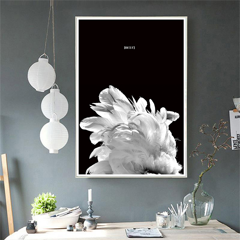 Feather Nordic Black and White Fine Canvas Art Poster Nordic Style Print Painting Abstract Wall Picture for Living Room Decor in Painting Calligraphy from Home Garden