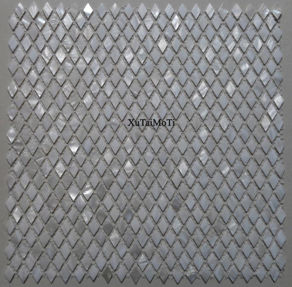Buy 11pcs white rhombus shell mosaic tile for Piastrelle cucina rombo