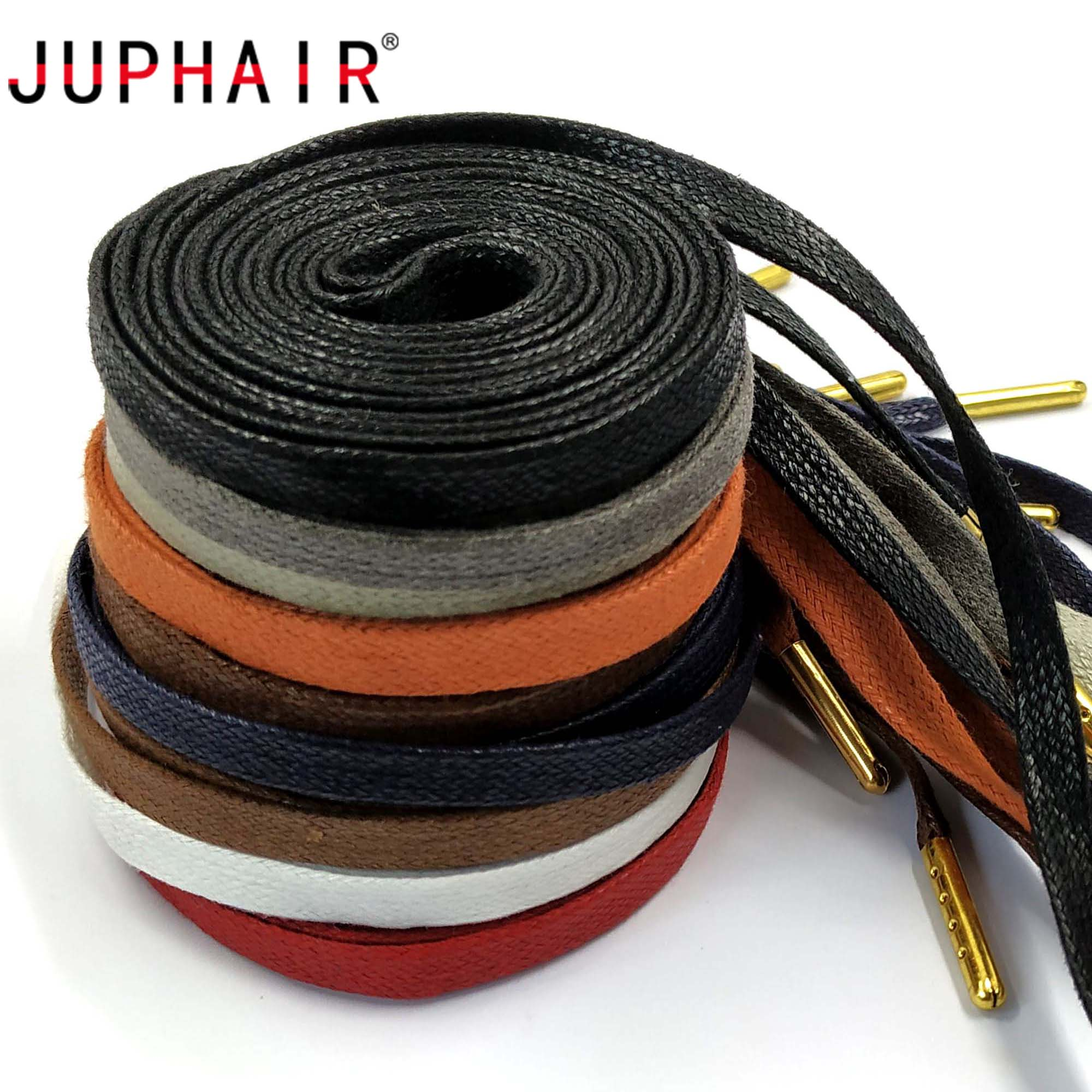 JUPHAIR High Quality Cotton Flat Waxed Shoelaces For Unisex Leather Dress Gold Metal Tip Waxed Shoe Laces 70cm 90cm 120cm 150cm