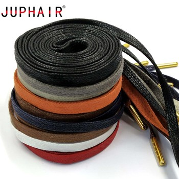 JUPHAIR High Quality Cotton Flat Waxed Shoelaces for Unisex Leather Dress Gold Metal Tip Waxed Shoe Laces 70cm 90cm 120cm 150cm juphair thin waxed cotton shoelaces round gold metal head waxing shoelace dress leather shoes strings boot sport shoe laces