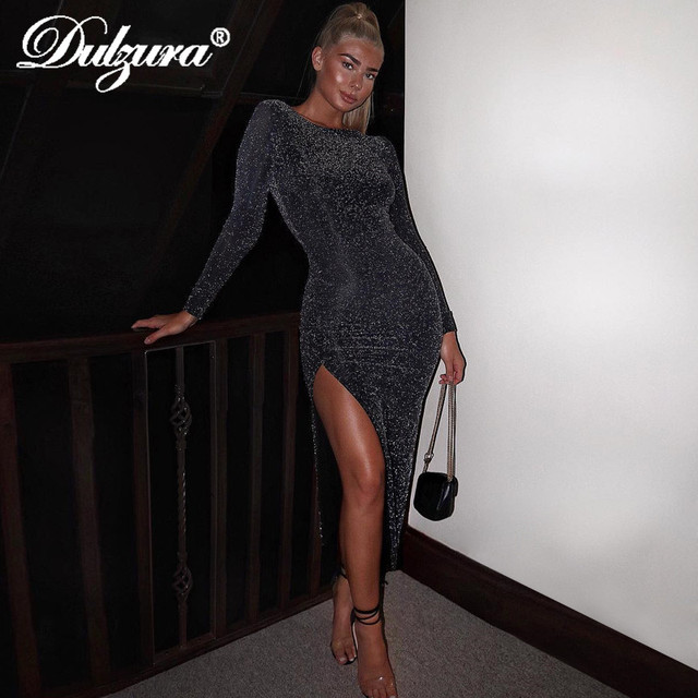Dulzura 2019 autumn winter women bodycon midi dress glitter sparkle bling long sleeve slit elegant festival clothes party outfit