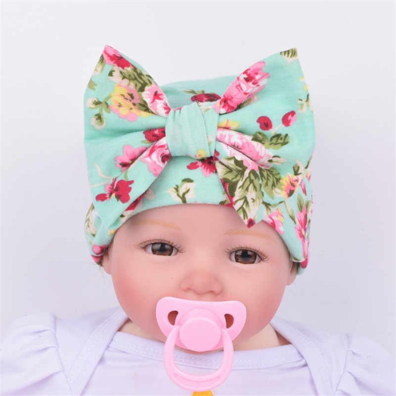 1f0acf5d740 ... Baby Girls Hats Flower Bowknot Beanies Infant Kids Comfortably Cotton  Children s Hat Newborn Hospital Caps 2018 ...