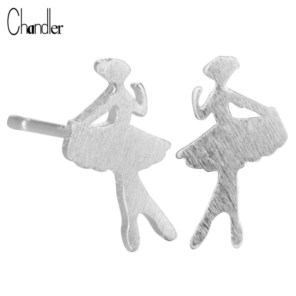 2017 Ballet Ballerina 925-sterling-Silver Stud Earrings Dancing Dancer Matte Post Gift Women Girls Dating Special Accessaries