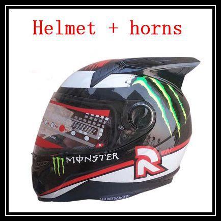 New arrival Brand motorcycle helmet and horns men's full face helmet Kart racing helmet moto casco motociclistas capacete DOT