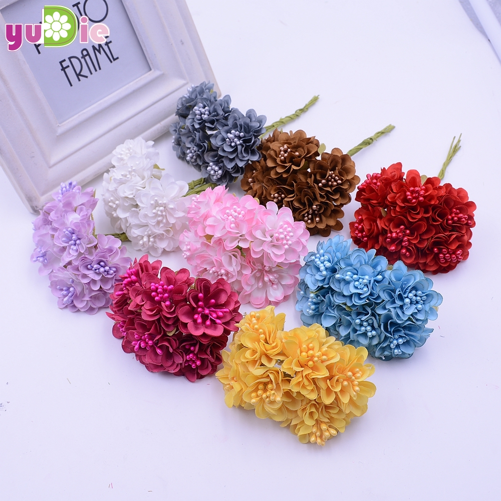 12pcs lot mini silk artificial rose bouquet wedding for Artificial flowers for wedding decoration