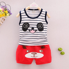 Children's Vest Set Wear for Children and Young Children's Short Sleeved Shorts and Super Thin Pure Cotton Vest