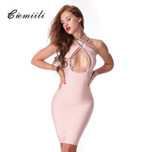CIEMIILI 2017 New Women Sexy Bandage Dress Cross Chain Sequined Sleeveless Celebrity Evening Party Bodycon Dresses Free Shipping