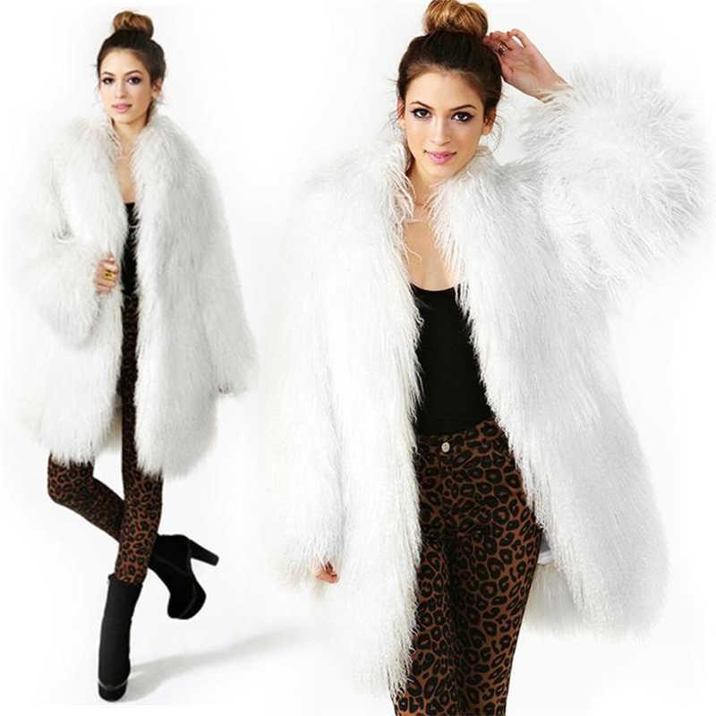 2020 冬の子羊羊の毛皮ラマ女性ロング丈コートモンゴル羊の毛皮のコートビーチウール生き抜くターンダウン襟