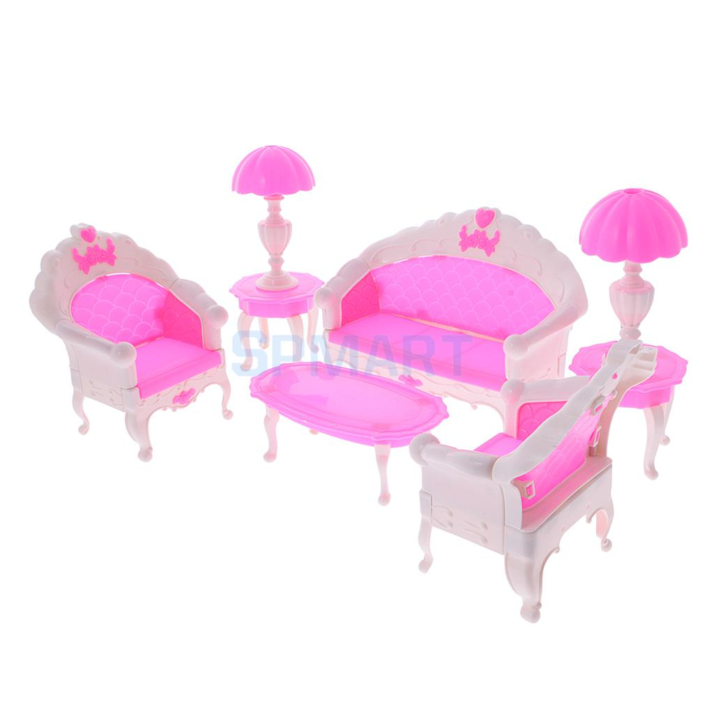 6Pcs DIY Girl Doll Houses Set Mini Pink Princess Dollhouse Sofa ...