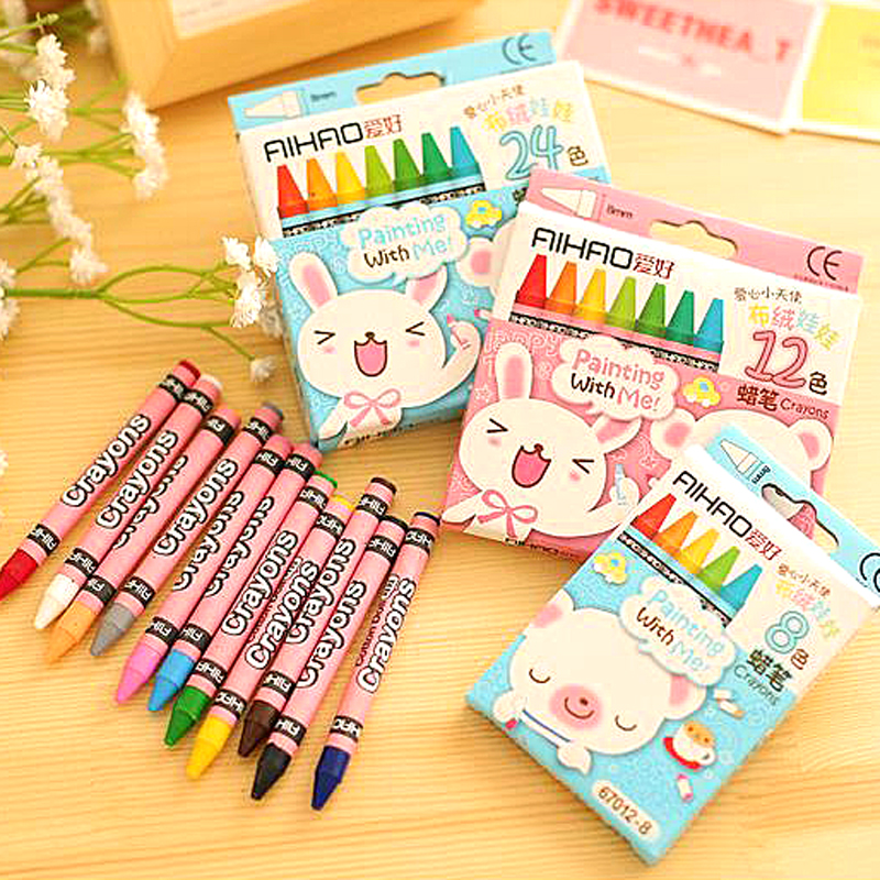 1 box colored kid baby pastel drawing wax color crayons giz kalem papeleria pencils for drawing stationery kleurpotloden in marker pens from office school - Colour Kid