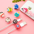 50pcs/lot Cartoon USB Cable Earphone Protector headphones line saver For Mobile phone charging line data cable protection