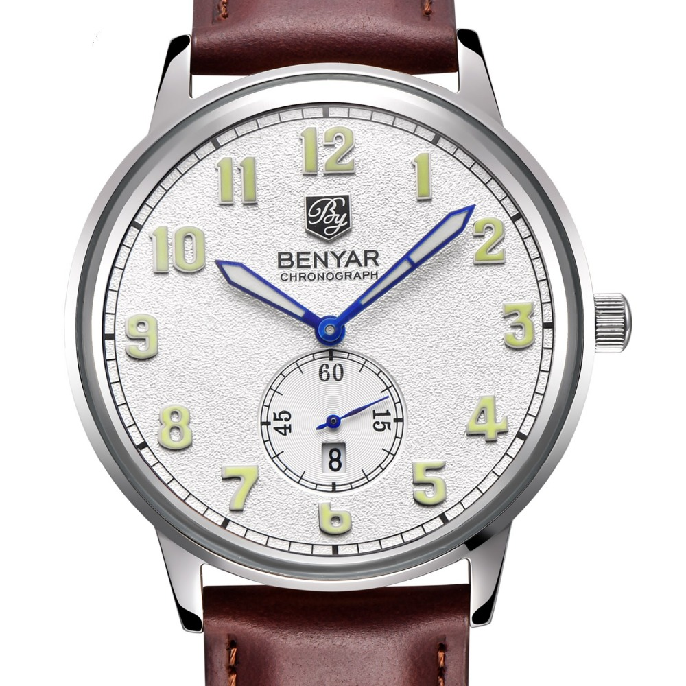 ФОТО Brand BENYAR Stainless Steel Case Genuine Leather Strap Date Hour Waterproof Luxury Men Quartz Watch Clock Women