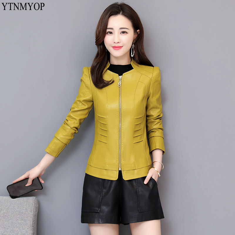 YTNMYOP 2019 New Arrive Women Slim Fashion   Leather   Coat Spring Clothing Outerwear Autumn Female   Leather   Jackets