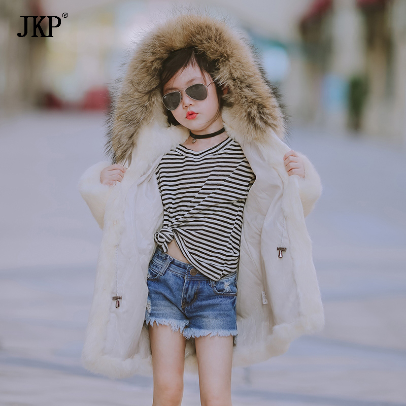 JKP 2018 new Children's fur coat 2018 winter new girl rabbit fur hooded thick coat tide fur long Outerwear coat jacket CT-11 недорго, оригинальная цена