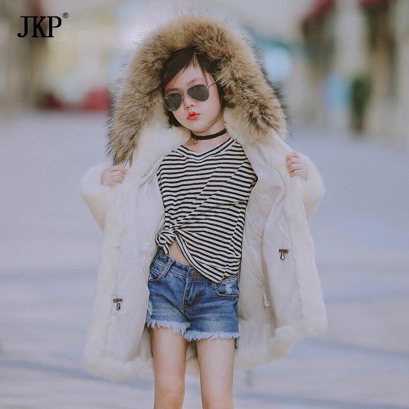 JKP 2018 nouveaux Enfants de manteau de fourrure 2018 hiver nouvelle fille de fourrure de lapin à capuchon épais manteau marée de fourrure long Survêtement manteau veste CT-11