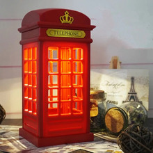 USB charging LED night light retro British phone booth touch dimming bedroom bedside lamp reading lamp table lamp цена