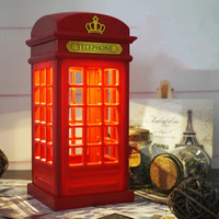 USB charging LED night light retro British phone booth touch dimming bedroom bedside lamp reading lamp table lamp