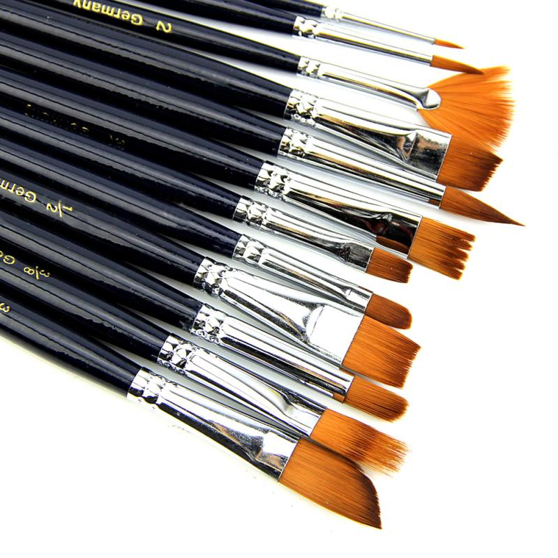 12X Artist Paint Brush Set Nylon Hair Watercolor Acrylic Oil Painting Supplies #824 New