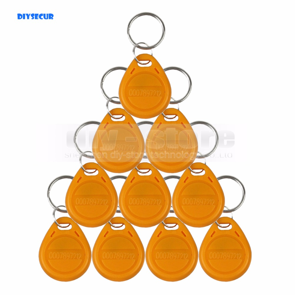 DIYSECUR 10pcs/lot 125Khz RFID Tag Proximity ID Cards Keyfob Key Tag Electronic Key for Access Control And Time Clock Use 1000pcs long range rfid plastic seal tag alien h3 used for waste bin management and gas jar management