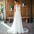2017 New Arrival Wedding Dresses Sleeveless A-line Floor-Length O-neck Chiffon with Applique Women Bridal Gowns Custom Made