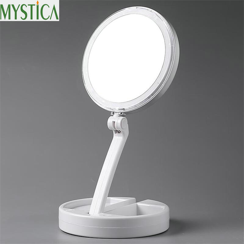 Multifunction LED Lights Decoration Mirror Foldable Round Women Facial Makeup Mirror Desktop Cosmetic 10X Magnification Beauty