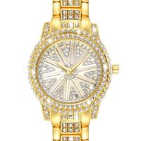 New Arrival Gold color Fashion Wrist Watches Waterproof Round Rhinestone Quartz Watch For Women Drop shipping
