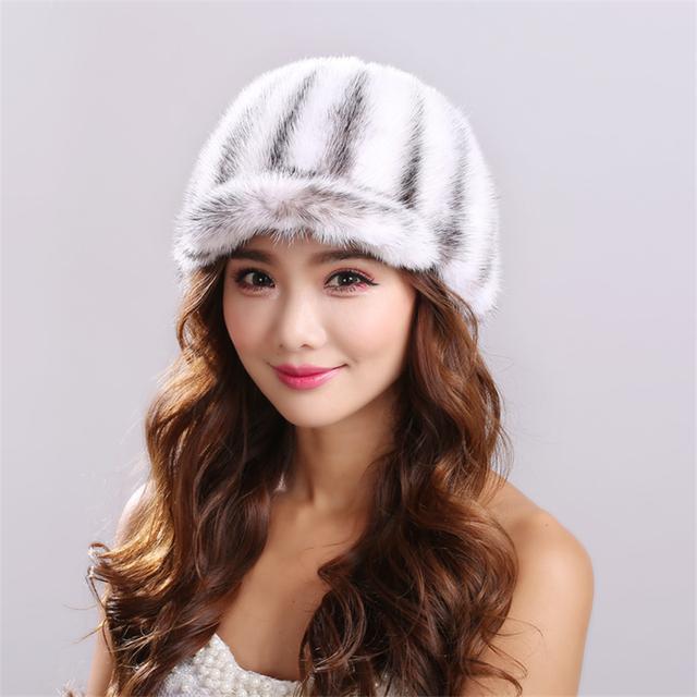 Invierno de las mujeres de piel de Visón Sombreros de Punto Gorros mujeres Mujeres Personalizado Mink Fur Hats Sombrerería Sombrero Para Las Mujeres Ocasionales Femeninos # H9025