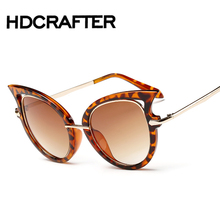 Fashion Cat Eye Sunglasses Women Brand Designer Sun Glasses For Ladies Vintage cateye Mirror Colorful-Lens Female