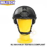 ISO Certified MILITECH Black OCC Dial NIJ Level IIIA 3A FAST High Cut Bulletproof Aramid Ballistic Helmet With 5 Years Warranty