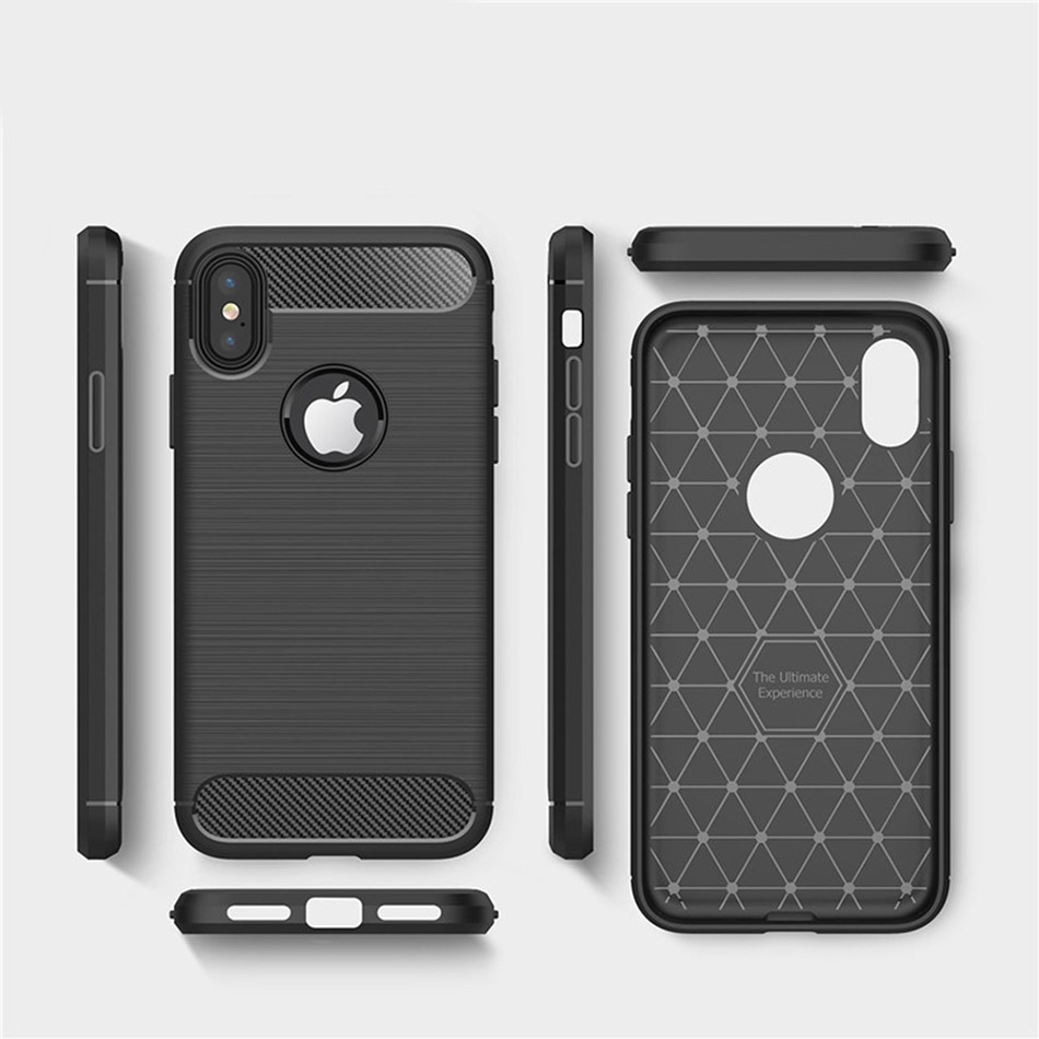 TOMKAS Phone Case Carbon Fiber Cover For iPhone XS Plus X 2018 5.8 6.1 6.5 Inch Soft TPU Silicon Case Protective Back Cover 2018 (9)