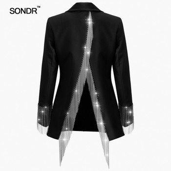 SONDR Heavy Chains Tassel Coats Female Long Sleeve Single Button Backless Irregular Overcoat Women 2019 Spring
