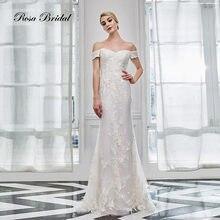 Свадебное платье с перьями rosabridal кружевное со съемной юбкой