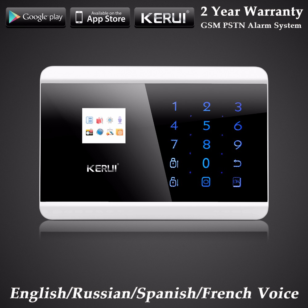 KERUI English/Russian/French/Spanish Voice GSM PSTN Dual Net Wireless Home Alarm System Security Android IOS APP Touch keypad 1