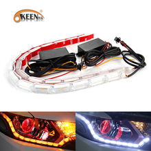 OKEEN 2x Car Waterproof Flexible White Amber Switchback LED Knight Rider Strip Sequential Turn Signal Light Strip for Headlight