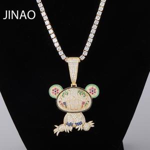 Image 1 - JINAO collier ours Animal pour bébé, pendentif avec chaîne de Tennis, en Zircon cubique glacé, brillant, style Hip Hop pour hommes, idée cadeau